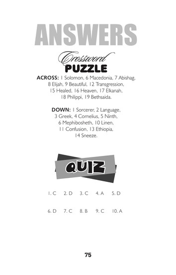 ANSWERS TO THIS MONTHS PUZZLES