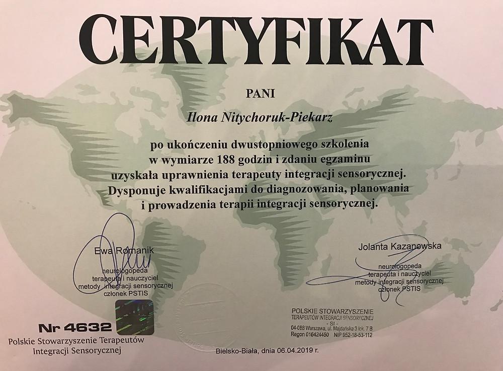 Certyfikat terapeuty SI Ilona Nitychoruk Piekarz