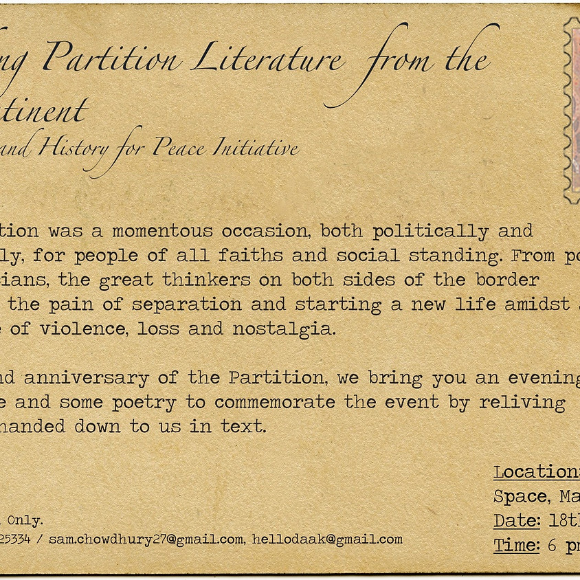 Reading Partition Literature from the Subcontinent