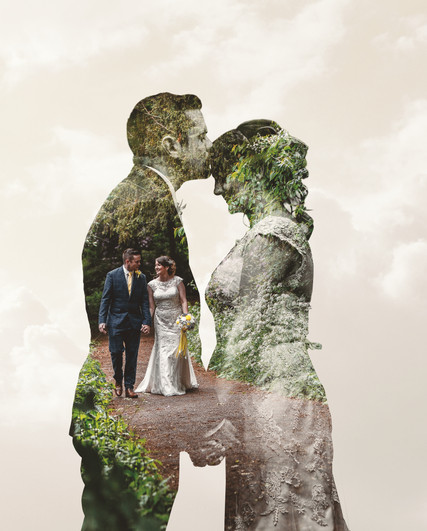 Double exposure image created for wedding album cover.