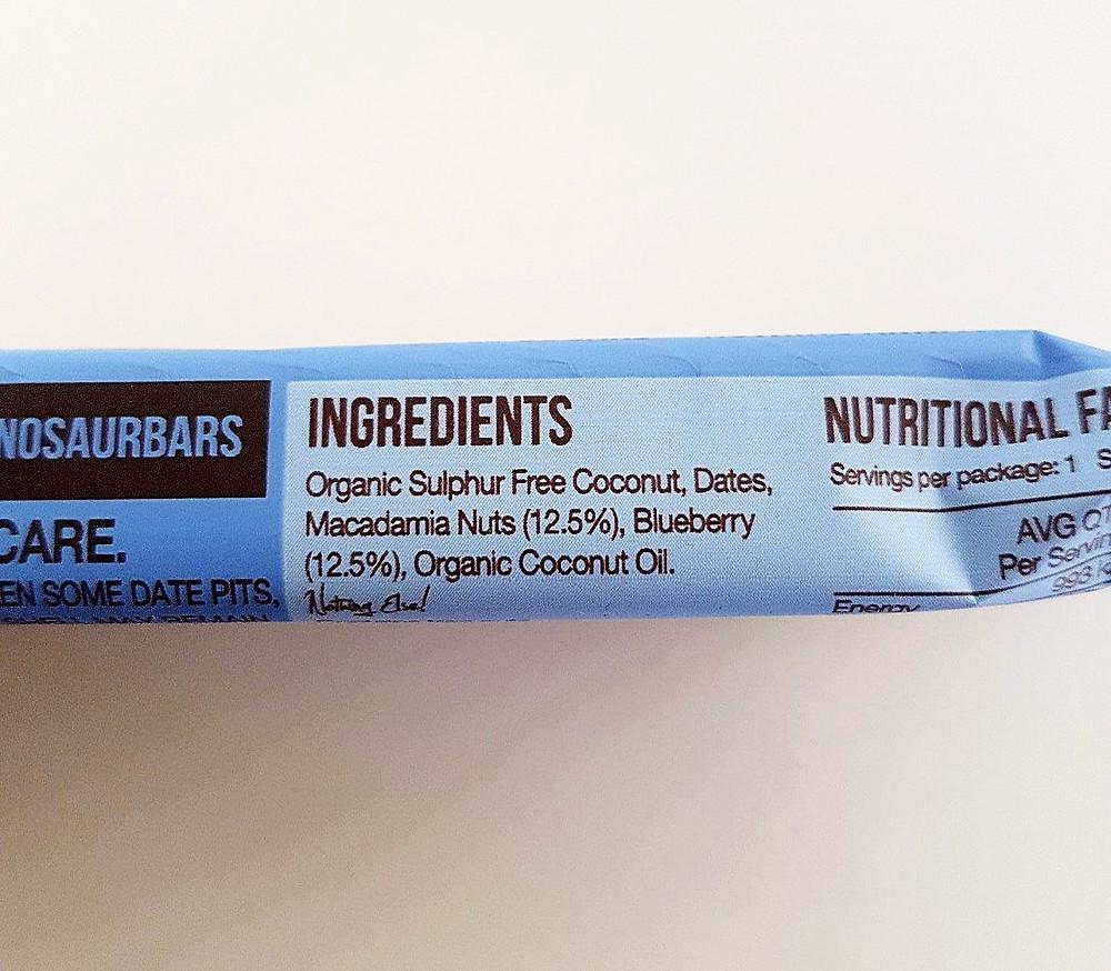 Blue Dinosaur Bar Blueberry Ingredients