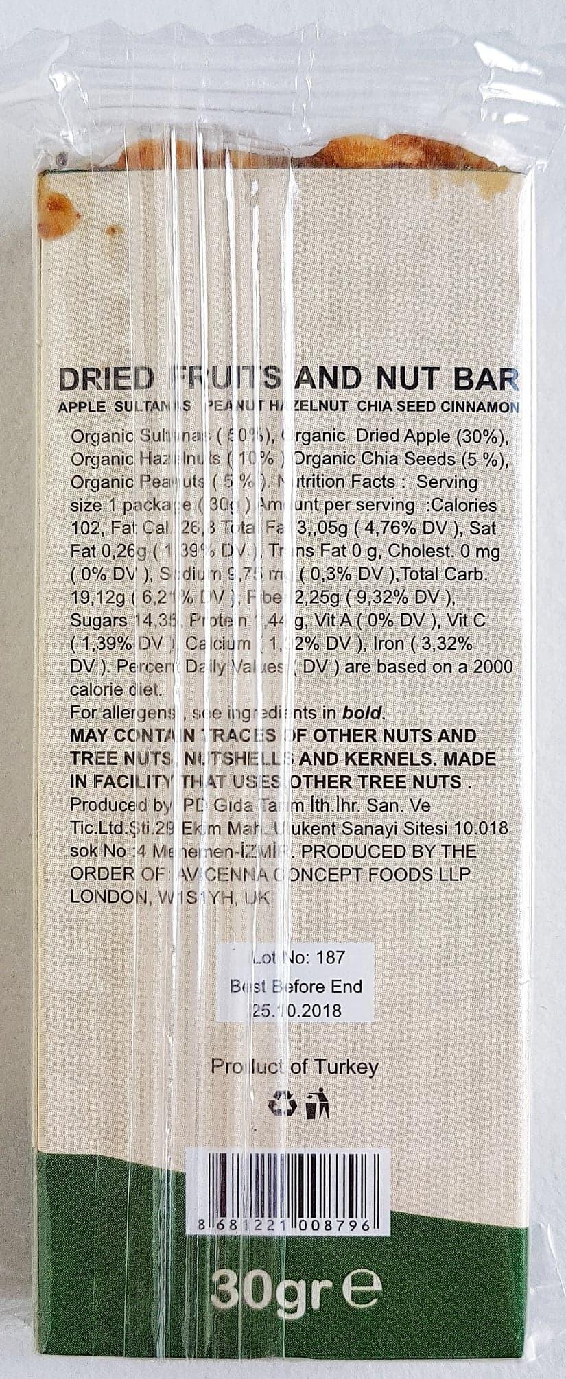 Avicenna Bio Food Fit Bar Apple Ingredients