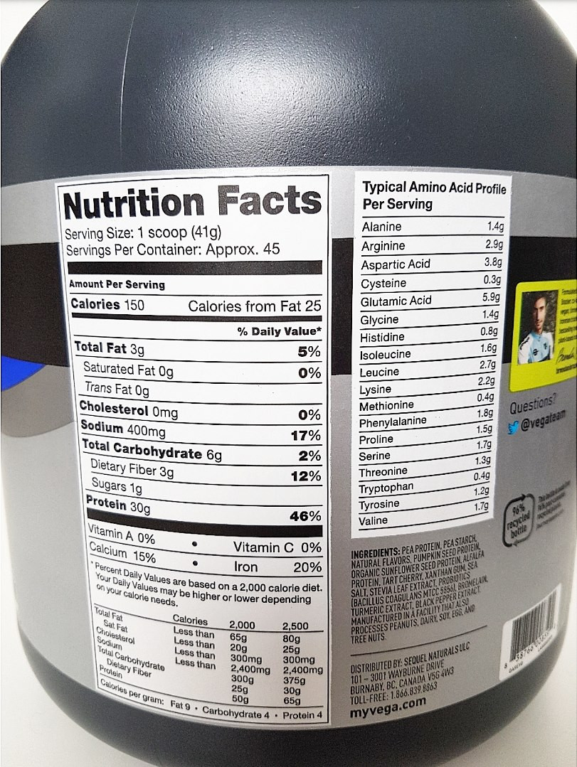 Vega Sport Protein Nutritional Values