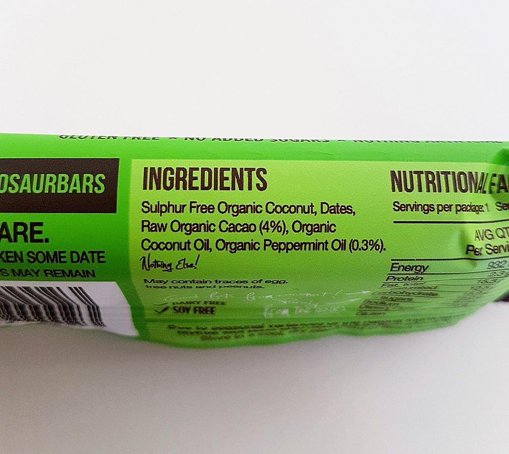 Blue Dinosaur Bar Cacao Mint Ingredients