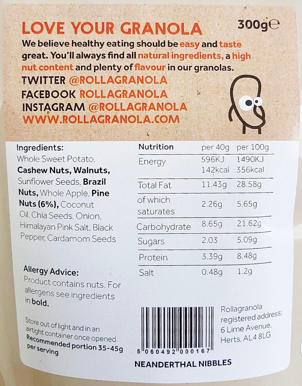 Rollagranola Neanderthal Nibbles Nutritional Values