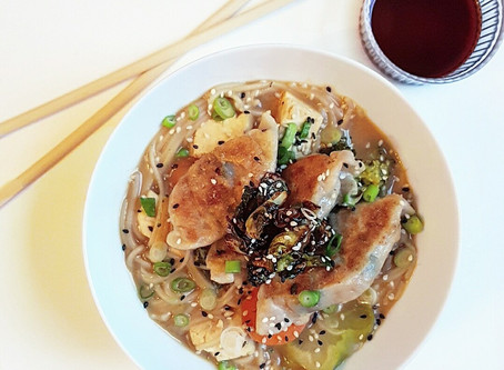 Miso Soup with Rice Noodles and Veggie Gyoza Dumplings