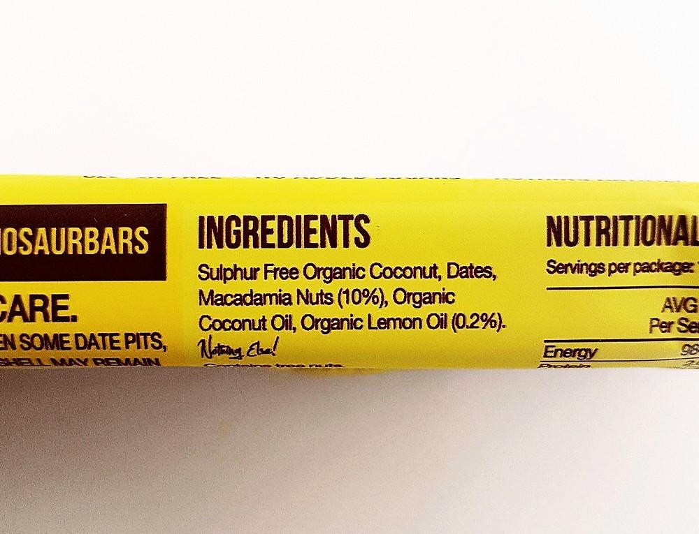Blue Dinosaur Bar Mac' Lemon Ingredients