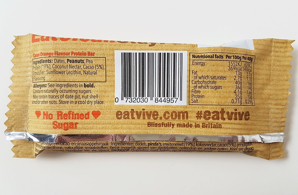 Vive Protein Bars Cacao Orange Nutritional Values