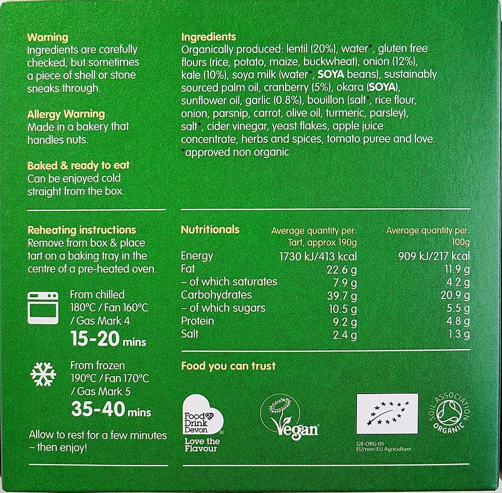 Clive's Tart Lentil & Kale Ragout with Cranberry Nutritional Value & Ingredients