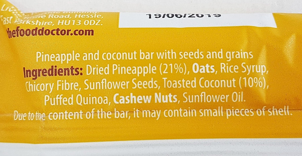 The Food Doctor Pineapple & Coconut Bar Ingredients