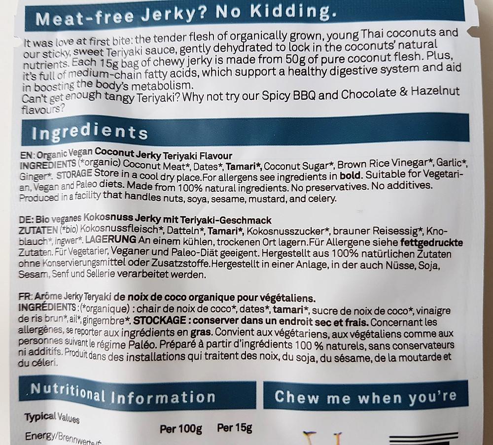 MightyBee Coconut Jerky Teriyaki Nutritional Values