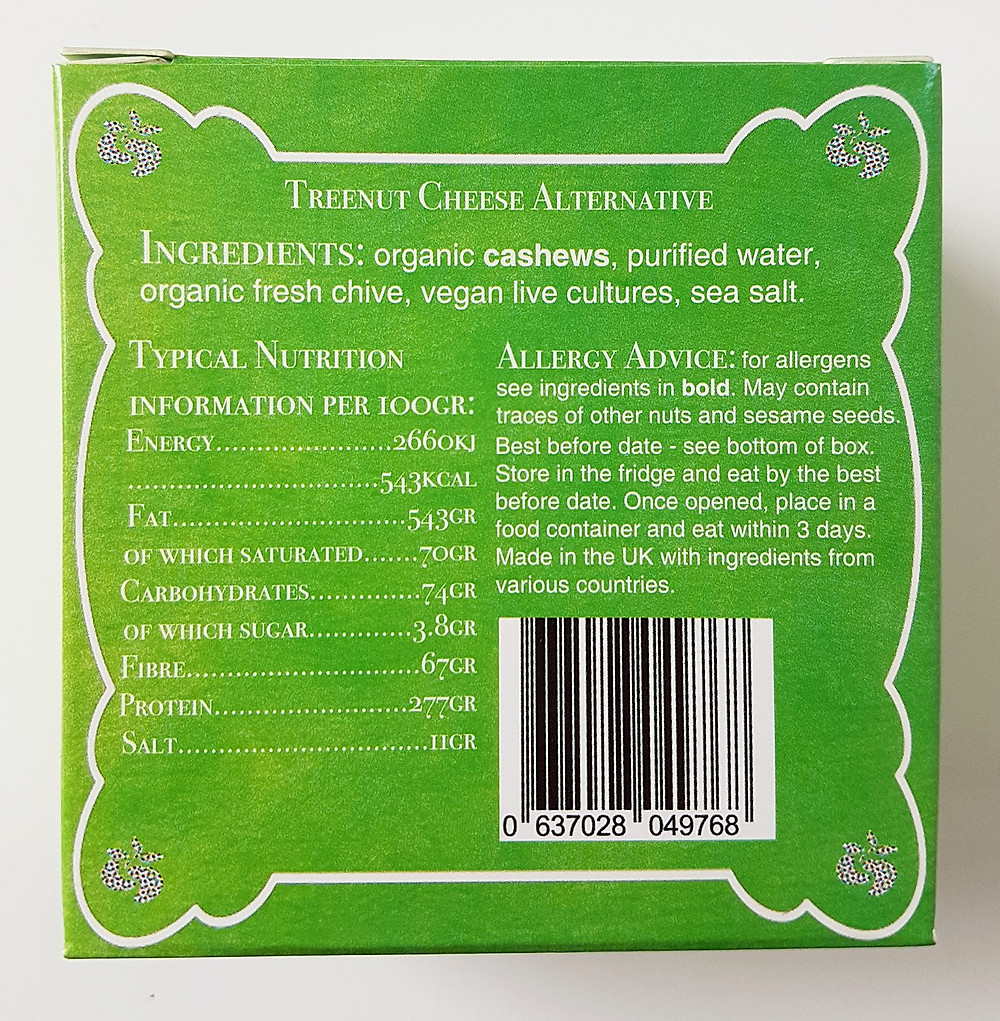 Nutcrafter Creamery Fresh Chive Nutritional Values