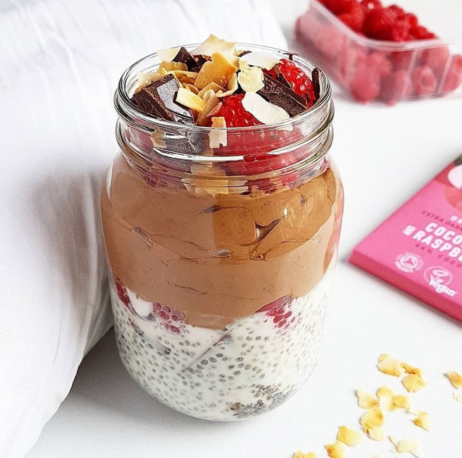 Raspberry & Coconut Chia Pudding with Chocolate Mousse