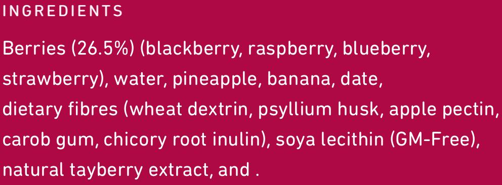 Frill Bursting Berries Ingredients