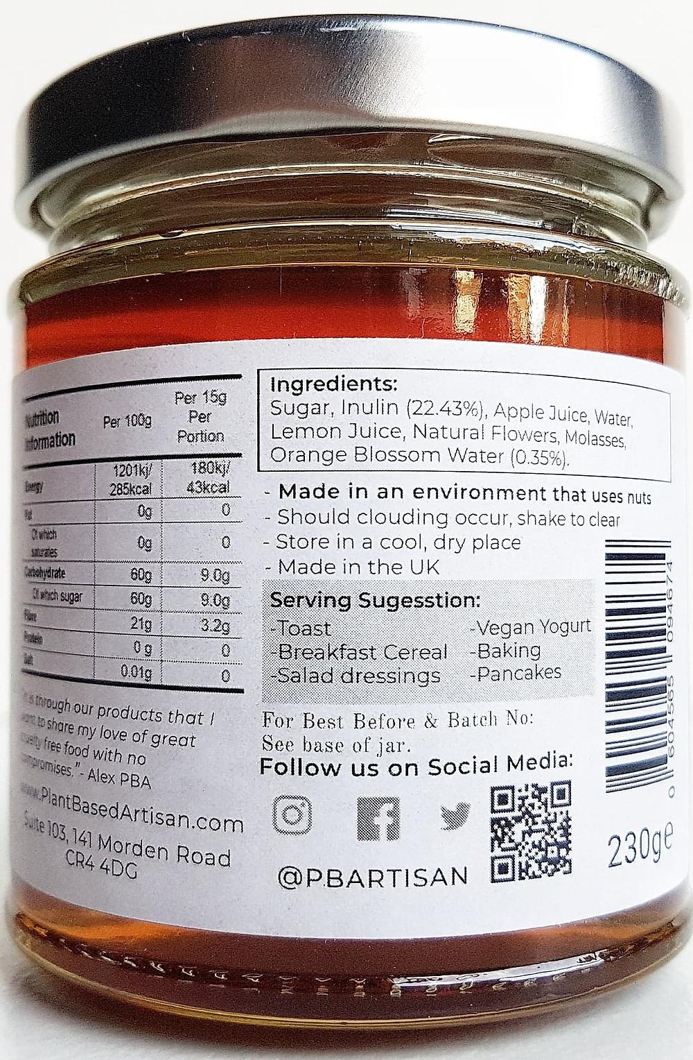 Plant Based Artisan vegan honey Orange Blossom Ingredients
