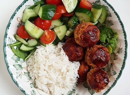 Chickpea Balls with Homemade BBQ Sauce