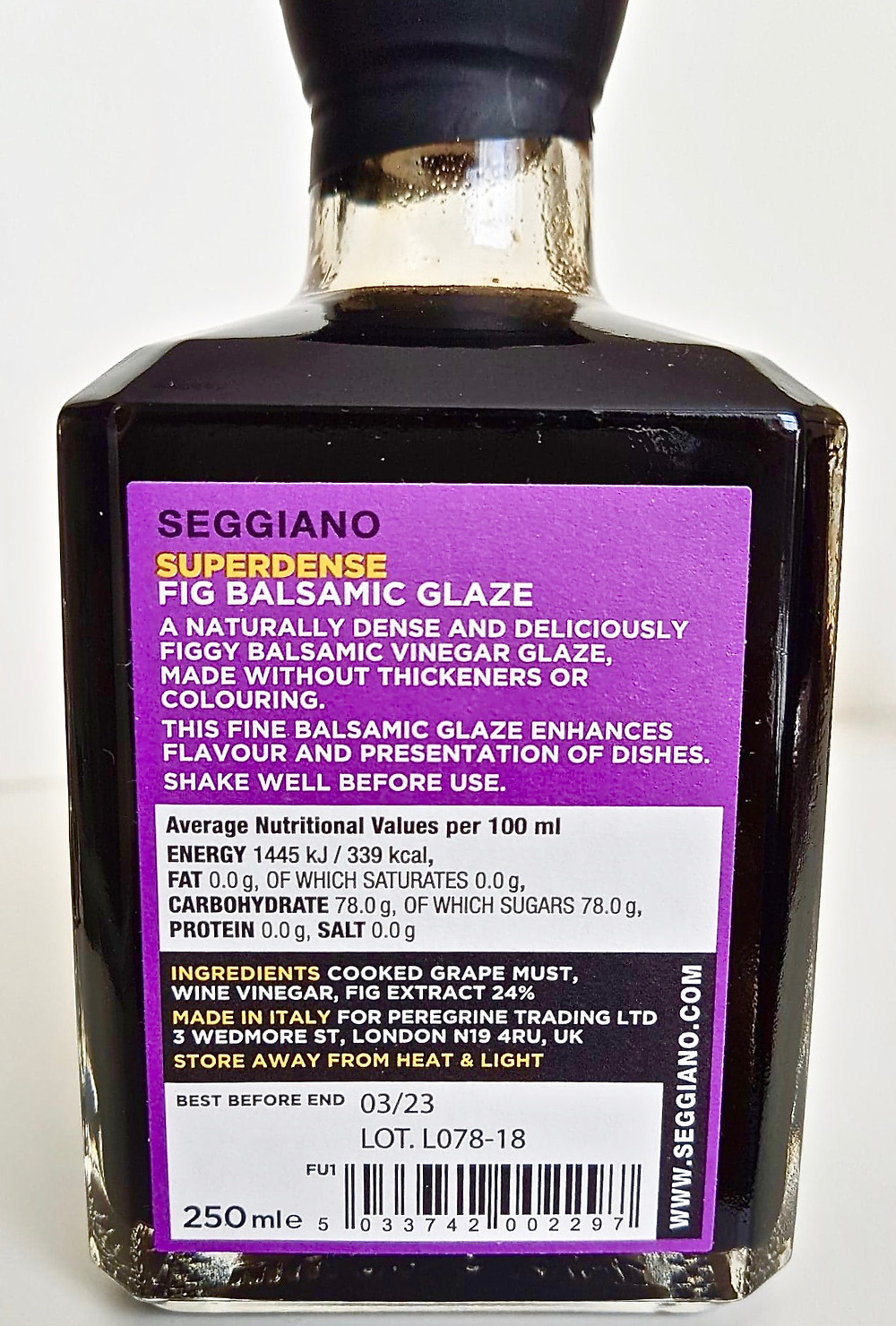 Seggiano Super Dense Fig Balsamic Glaze Ingredients