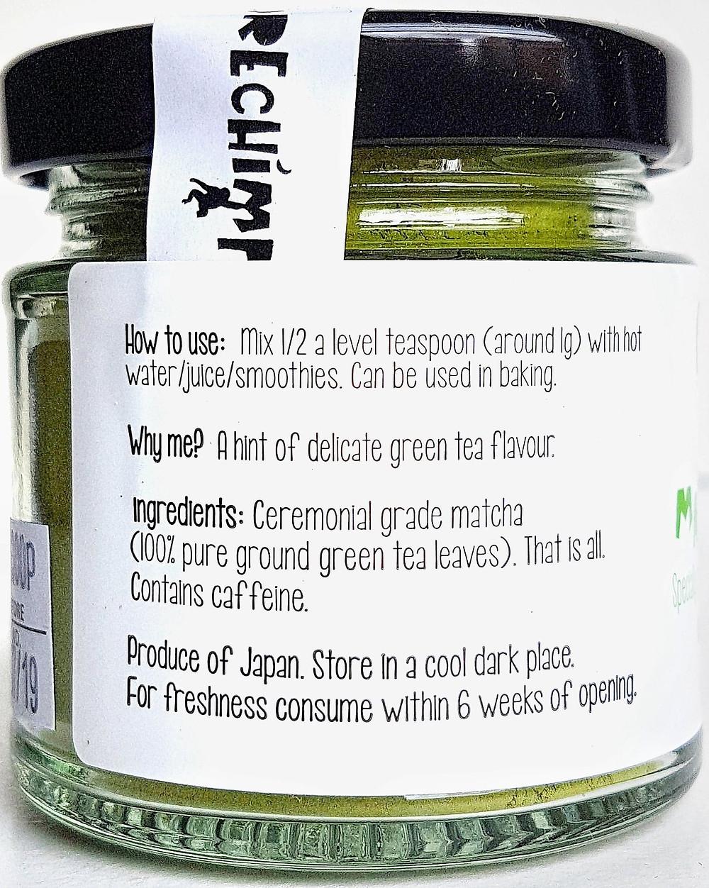 Pure Chimp Matcha Green Tea Ingredients