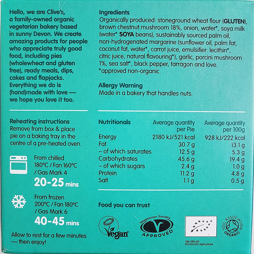 Clive's Pies Creamy Mushroom Nutritional Value & Ingredients