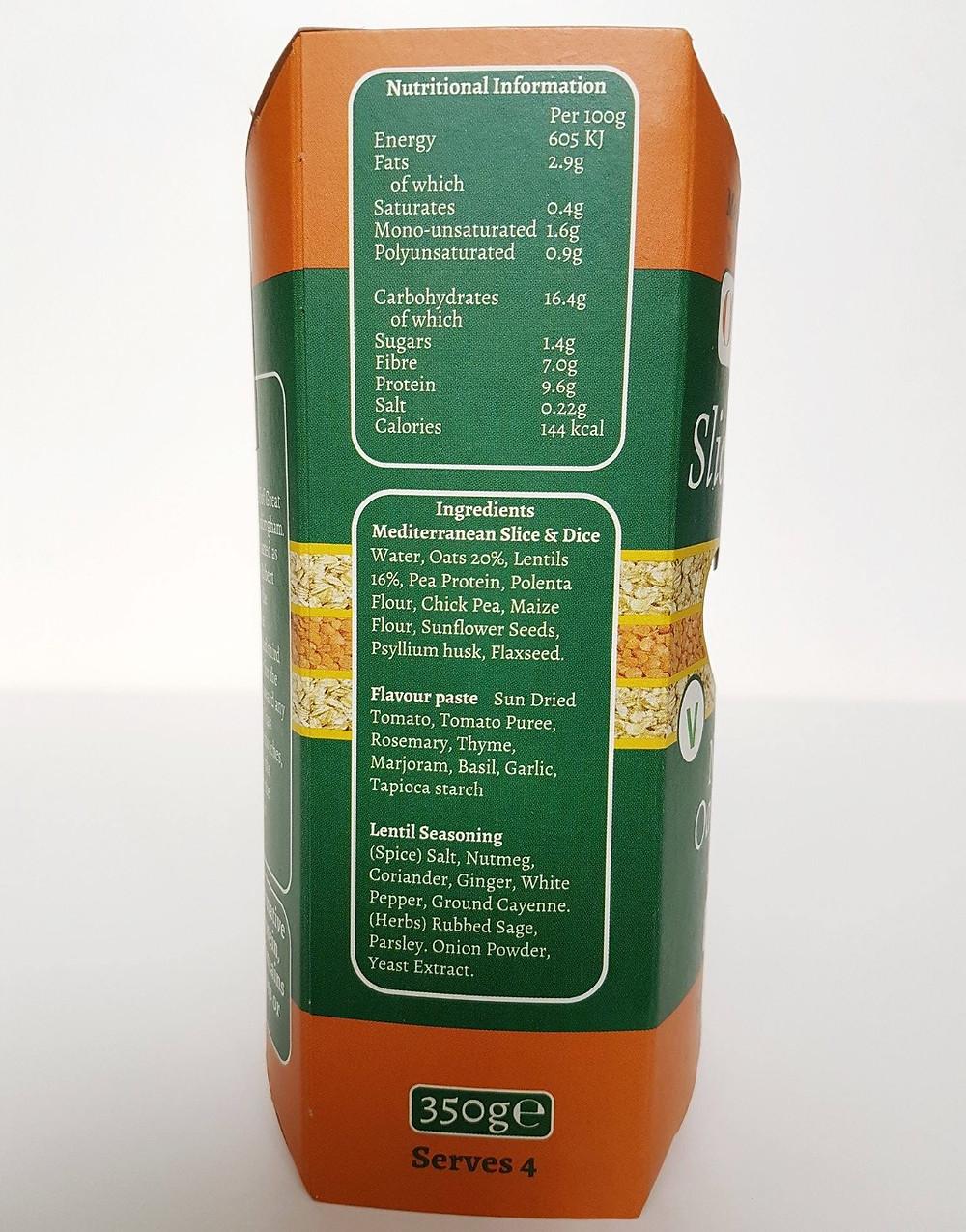 O'Lentil Mediterranean Nutritional Values