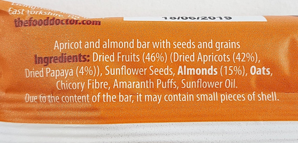 The Food Doctor Apricot & Almond Bar Ingredients