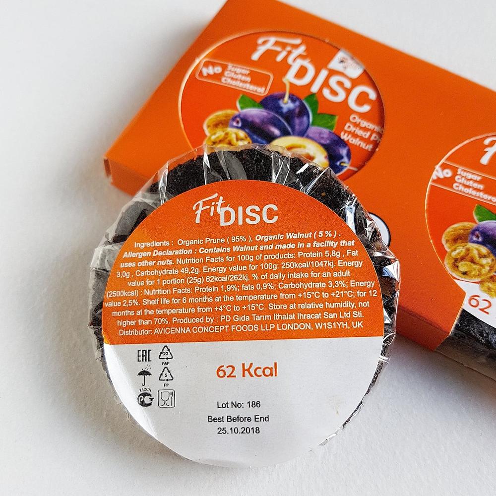 Avicenna Bio Food Fit Disc Prune Ingredients