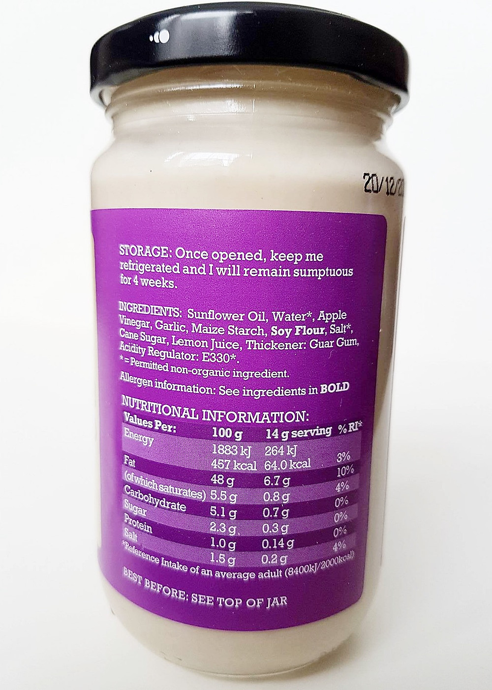 Mr Organic Garlic Mayo Nutritional Values