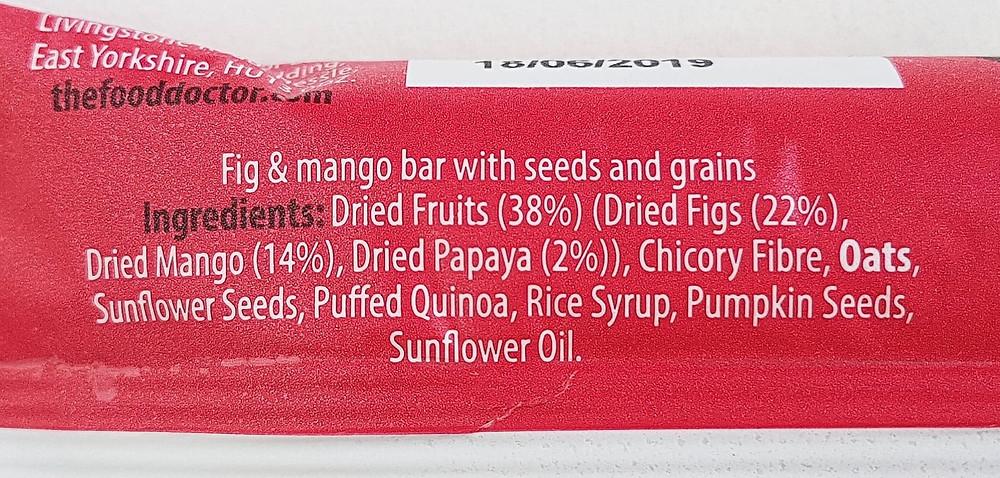 The Food Doctor Fig & Mango Bar Ingredients
