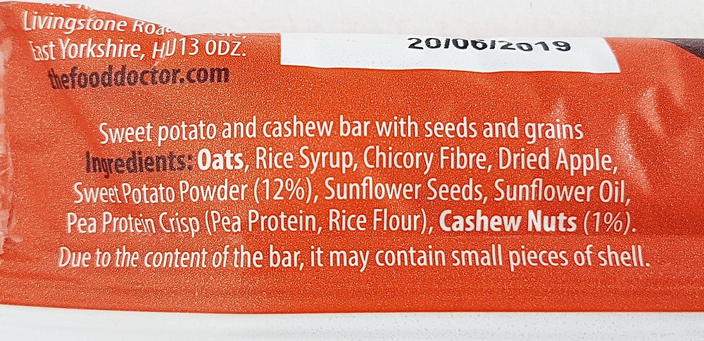 The Food Doctor Sweet Potato & Cashew Bar Ingredients