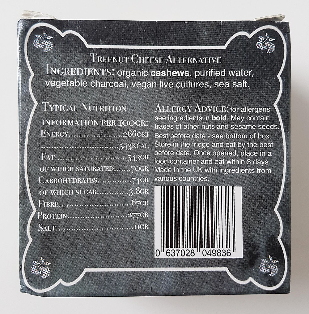 Nutcrafter Creamery Aged Charcoal Nutritional Values