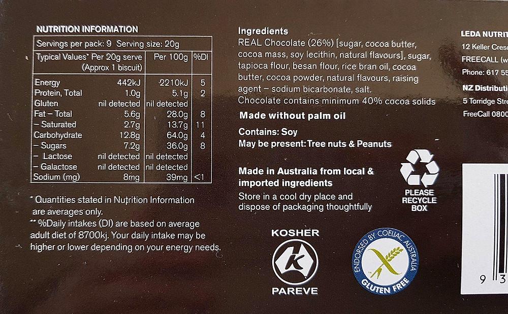 Leda Choculence Nutritional Values