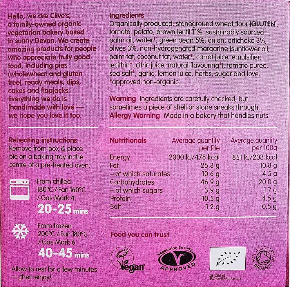 Clive's Pies Greek Lentil & Olive Nutritional Value & Ingredients