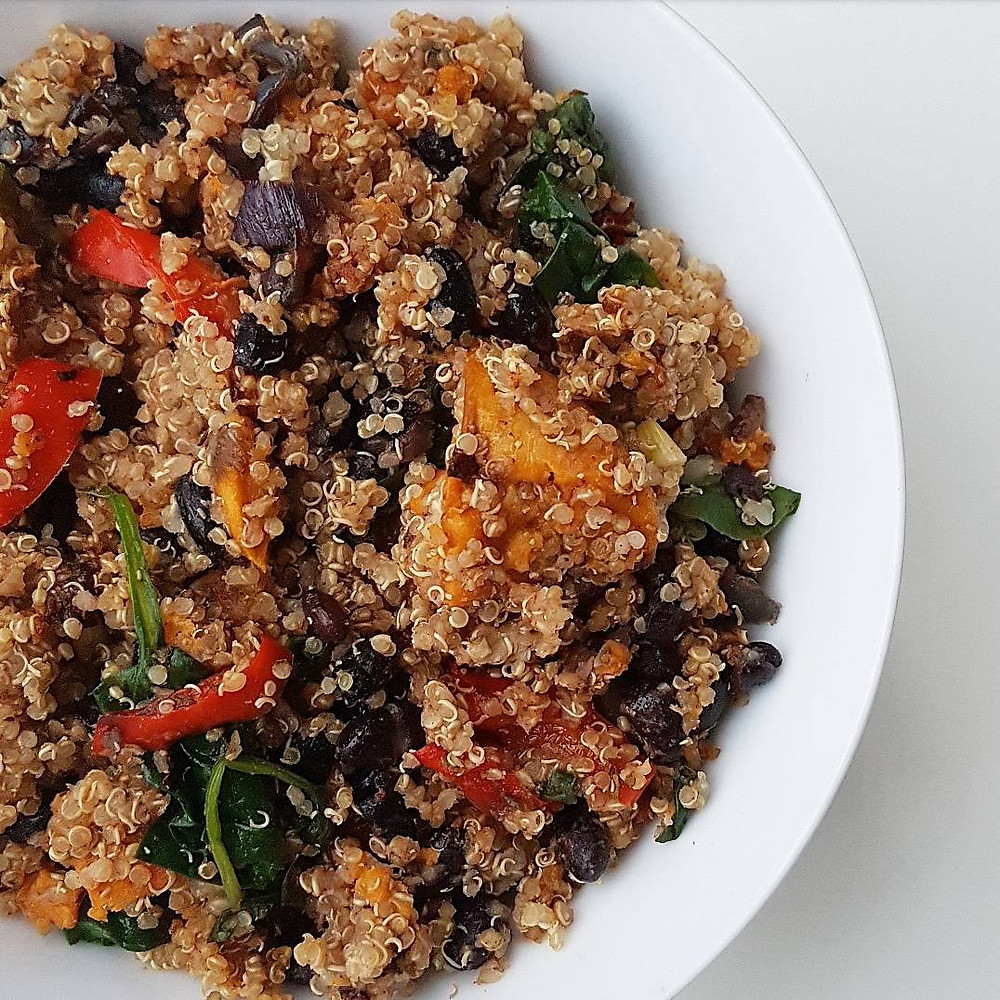 Oven Baked Vegetables, Quinoa and Black Beans