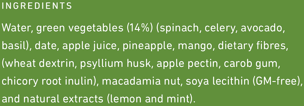 Frill Refreshing Green Ingredients