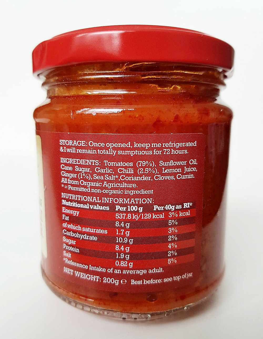 Mr Organic Red Chilli & Ginger Salsa Nutritional Values