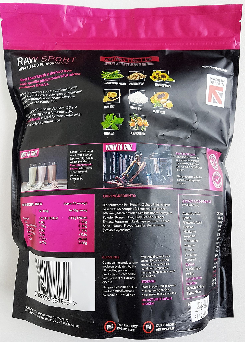 Raw Sport Female Repair Protein Vanilla Nutritional Values & Ingredients