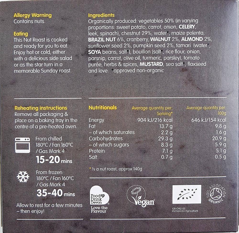 Clive's Vegan Nut Roast Nutritional Value & Ingredients