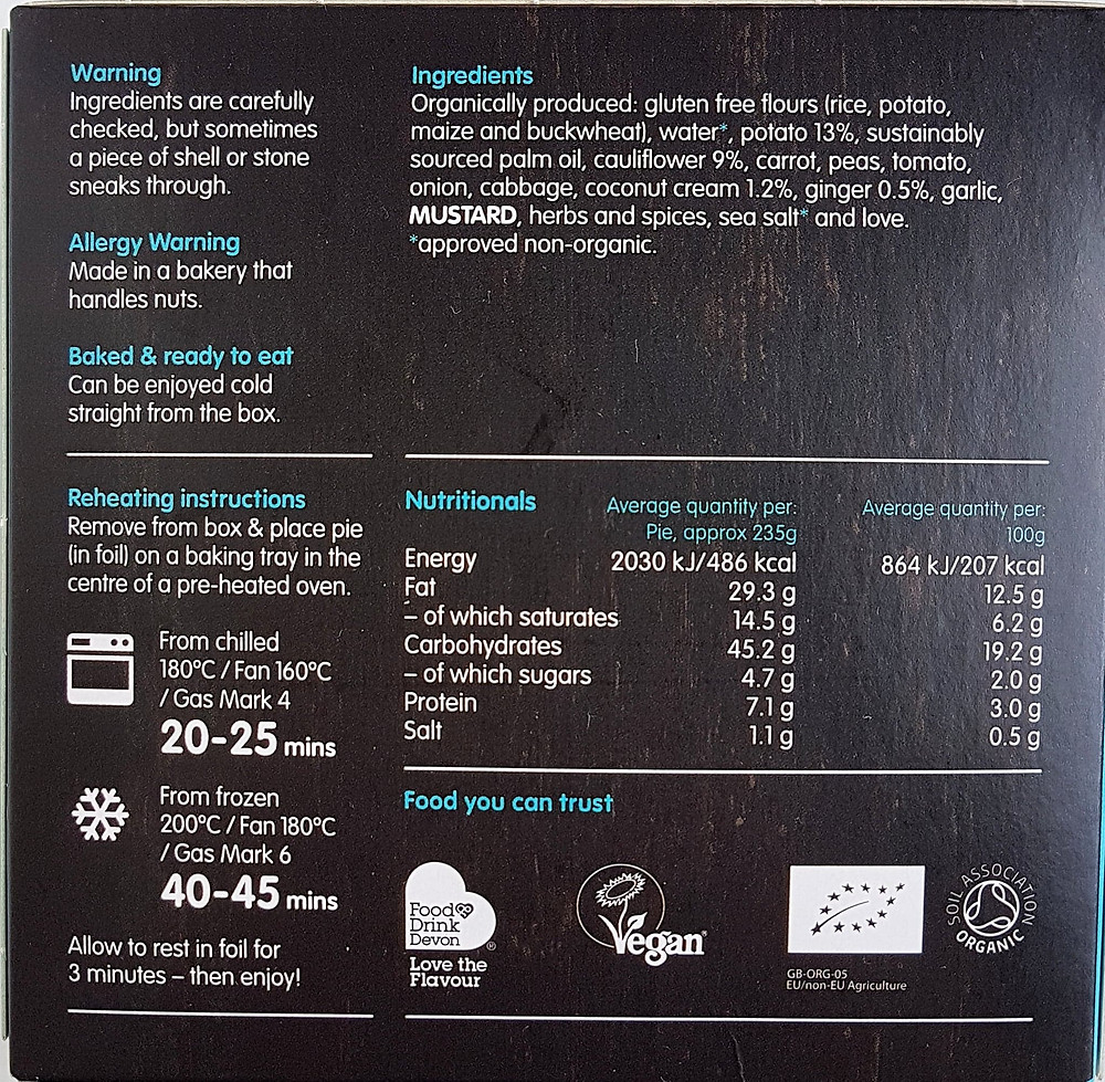 Clive's Pies Aloo Gobi Nutritional Value & Ingredients