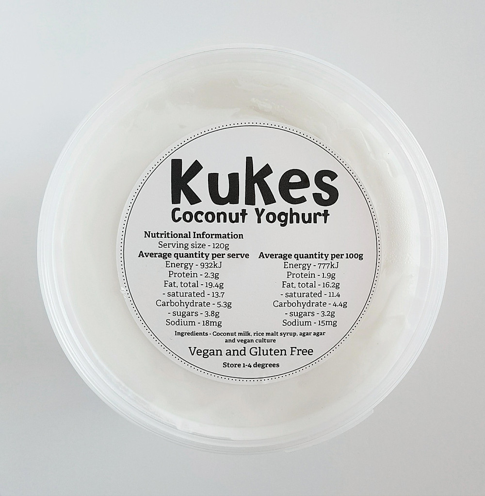 Kukes Coconut Yoghurt Ingredients and Nutritional Values