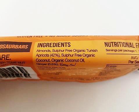 Blue Dinosaur Bar Wild Apricot Ingredients