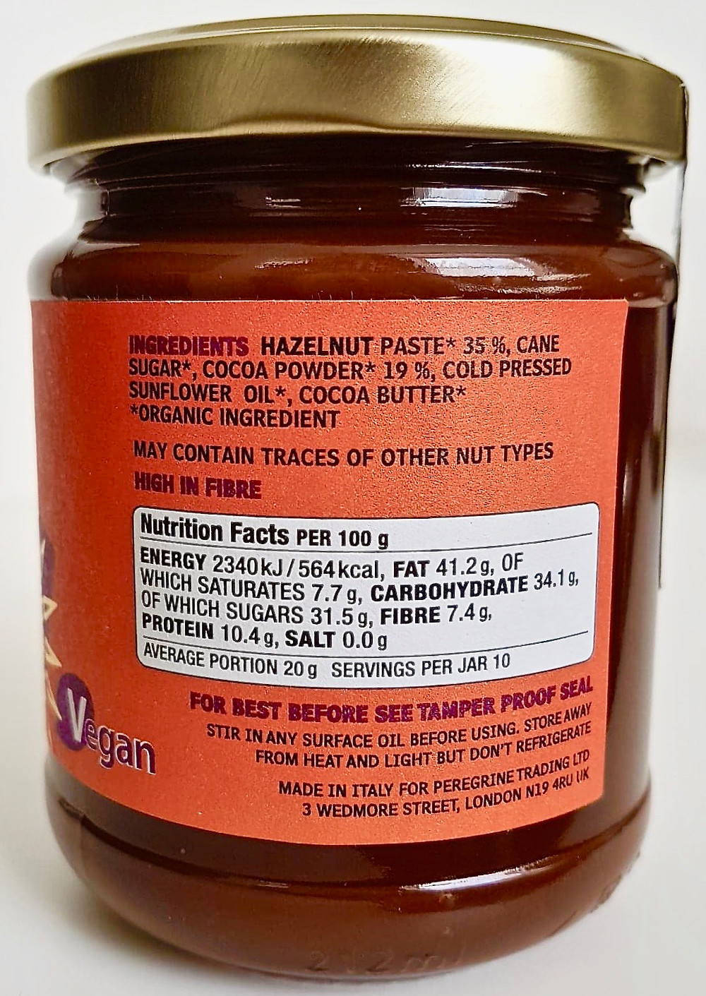Seggiano Vegan Dark Chocolate Hazelnut Spread Ingredients