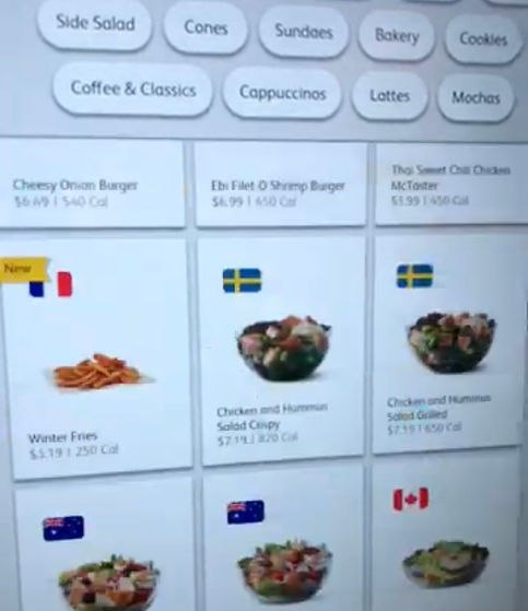 Global Menu McDonalds