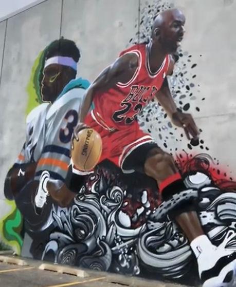 Michael Jordan and Walter Payton Mural