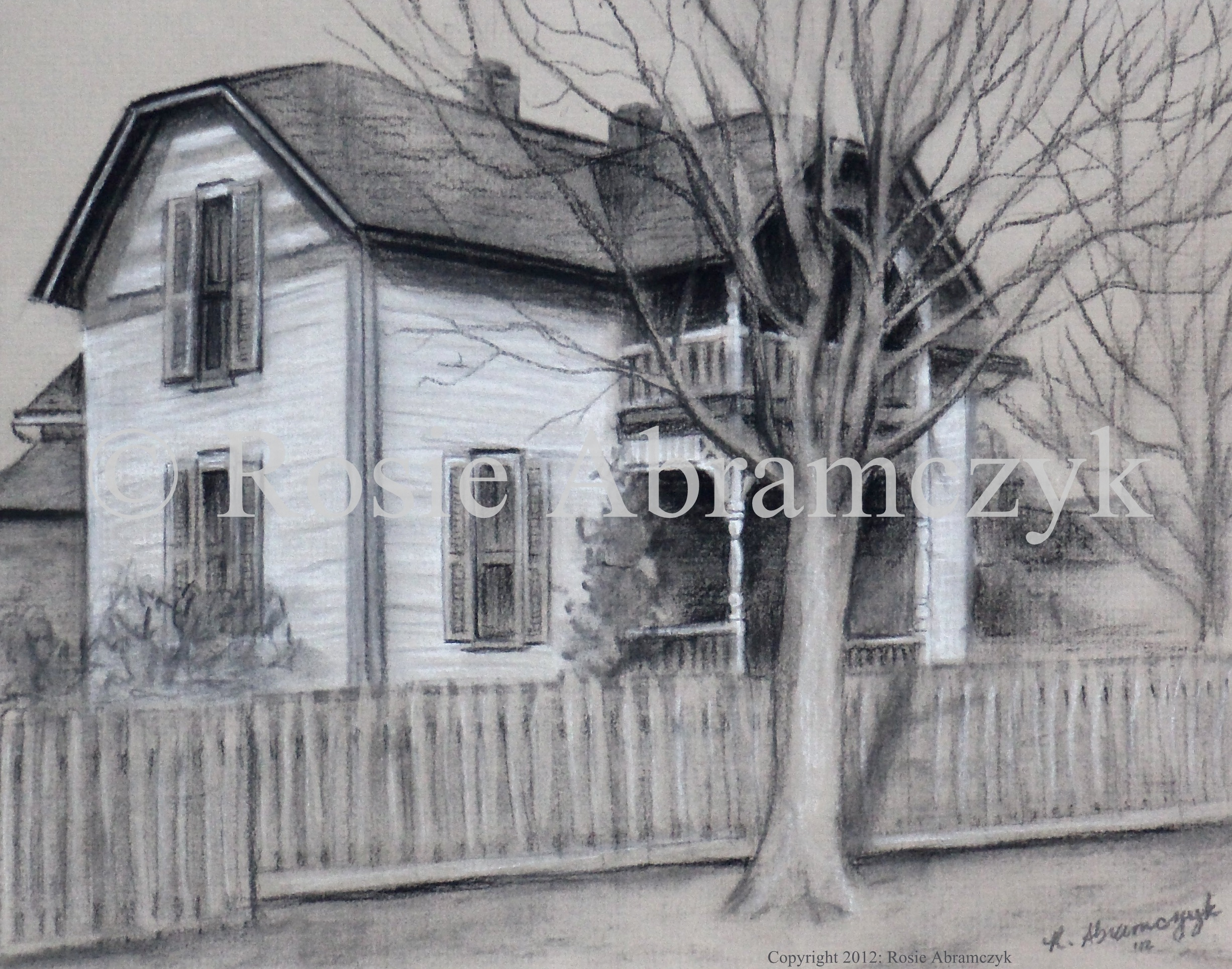 Brotherton Home, Marquand, MO, by Rosie Abramczyk, Charcoal & White Pastel, 2012