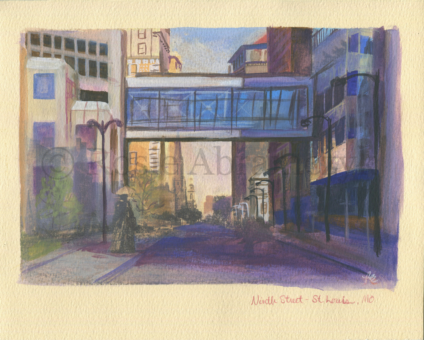 Ninth Street, St. Louis, MO, by Rosie Abramczyk, Gouache and Xerox Transfer, 2008