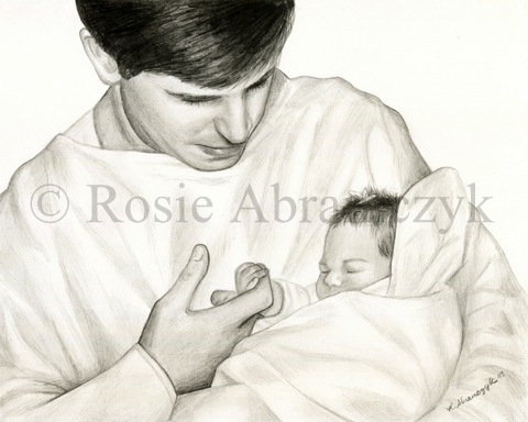 Kelly M. and Her Father, Pencil drawing by Rosie Abramczyk 2013