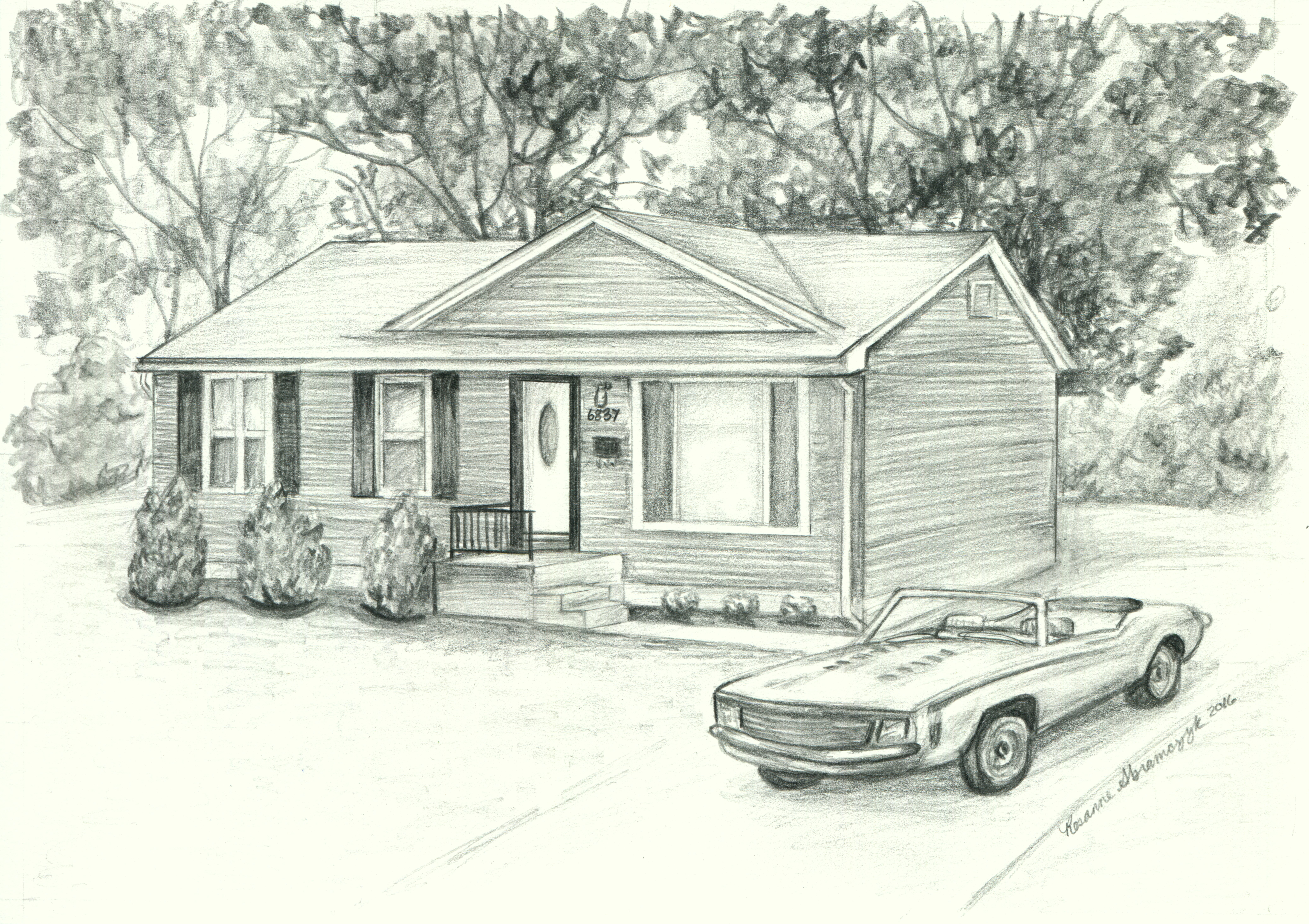Caroline's House, by Rosie Abramczyk, Pencil Drawing, 2016