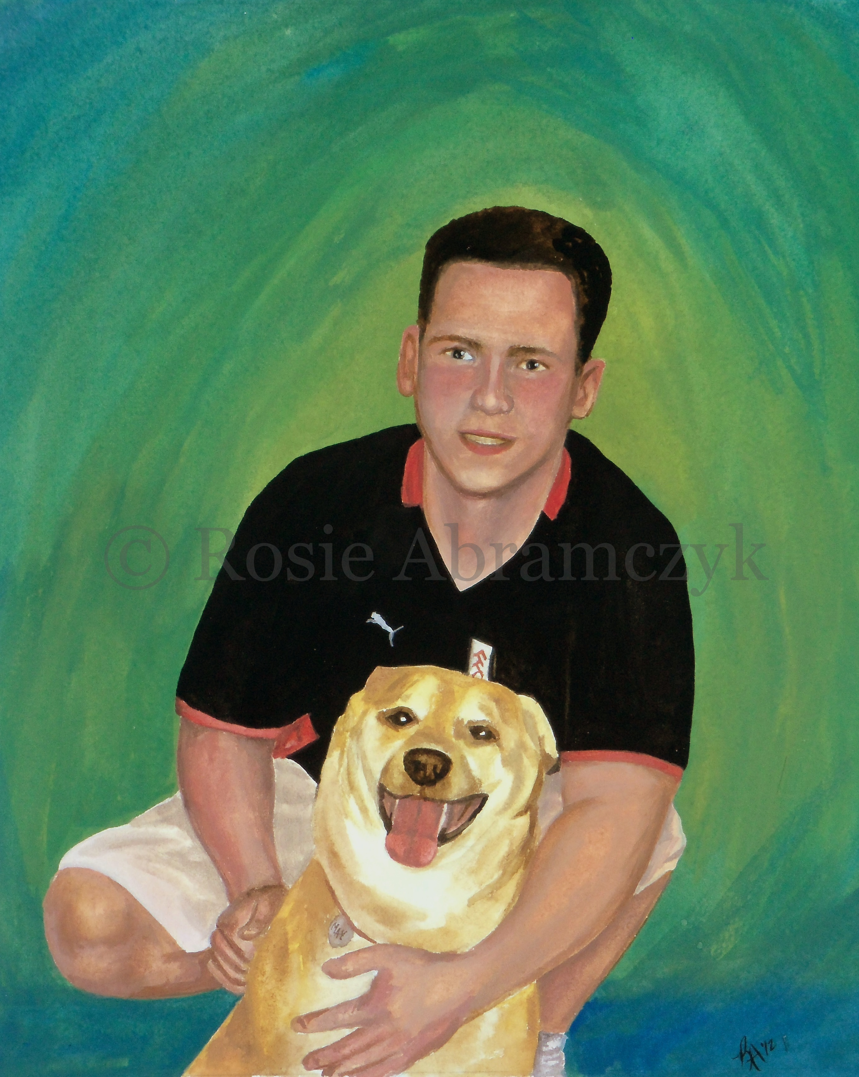Brad and His Dog May, by Rosie Abramczyk, Gouache Paint, 2012-