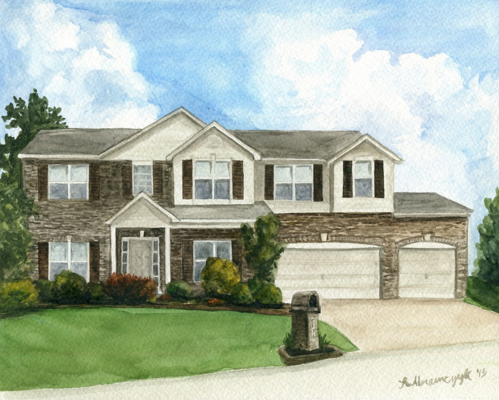 Zeitler Home, by Rosie Abramczyk, Watercolors, 2013