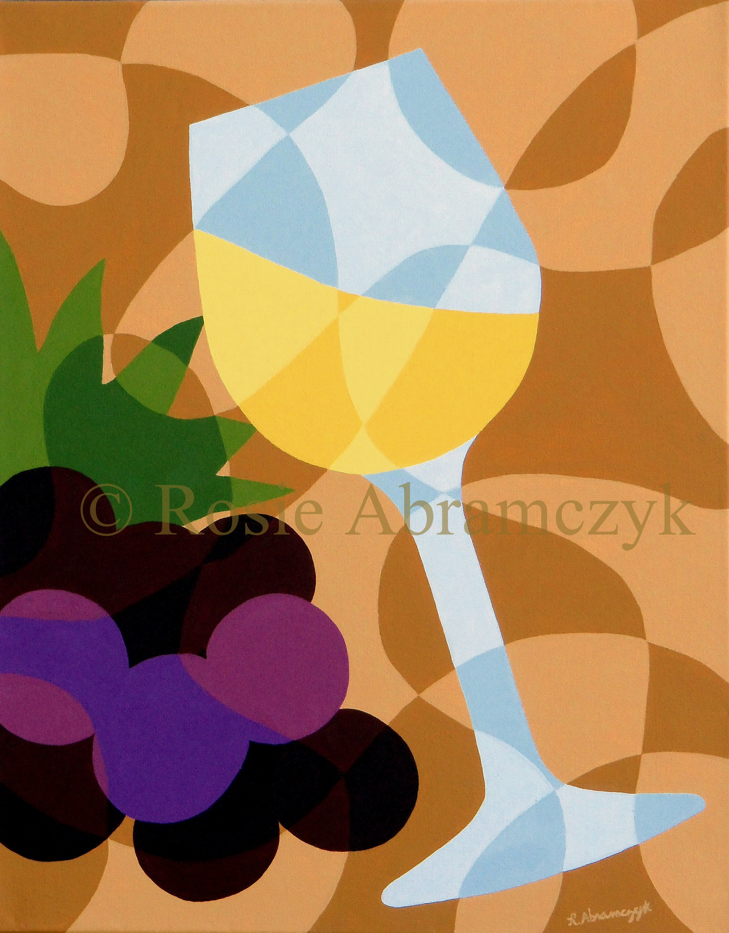 Cheers! White Wine, by Rosie Abramczyk, Acrylic, 2012